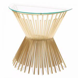 Sassy Round Glass Console Table | Brushed Gold Base