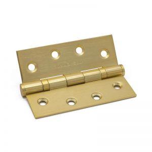 Satin Brass Ball Bearing Hinge | Pair | 100mm x 75mm