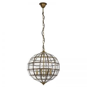 Saville 4 Light Pendant | Antique Brass | By Beacon Lighting