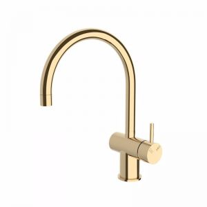 Scala Sink Mixer Tap Large Curved Spout Right Hand | Brass Gold | Reece