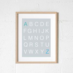 Scandi Alphabet Grey Art Print