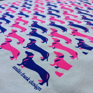 Schnitzel the Dachshund | Neon pink & Indigo Tea Towel | Oatmeal Base