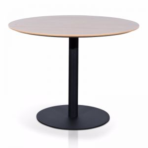 Scope Round Office Meeting Table | Natural with Black Base