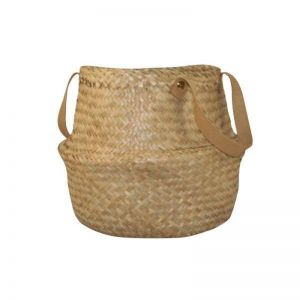 Seagrass Belly Basket Leather Handle | Small