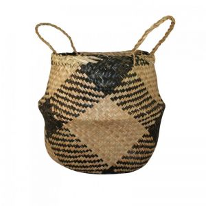 Seagrass Belly Basket | Plaid