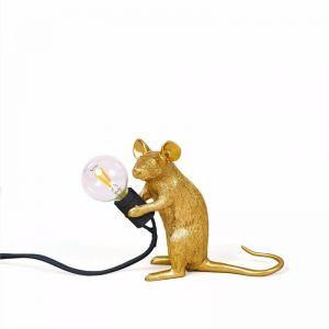 Seletti Mouse Lamp Sitting | Gold Mac