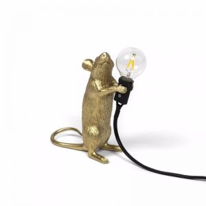 Seletti Mouse Lamp Standing | Gold Step