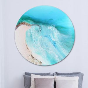 Serenity 3 Round Abstract Beach Artwork | Frameless Acrylic Print | by Antuanelle