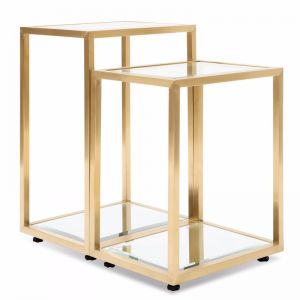 Set of 2 - Oxford Glass Side Table - Brushed Gold Base