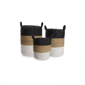 Set of 3 Byron Laundry Baskets | Black, White & Natural  | OMG I WOULD LIKE