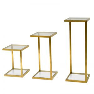 Set of 3 Luke Glass Side Table | Gold Base | Interior Secrets