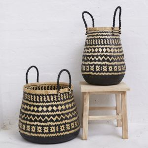 Shaia Black and Natural Basket with Rope Handles l Pre Order