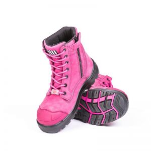 She Achieves | Zip Lace Safety Work Boots | Womens | Hot Pink | She Wears