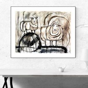 Sheep | Original Watercolour Artwork | Charcoal