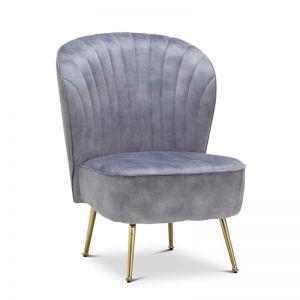 Shell Velvet Slipper Accent Chair | Light Grey & Gold
