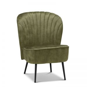 Shell Velvet Slipper Accent Chair | Moss Green & Black