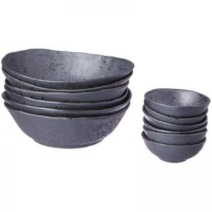 Shervin Verkil Rania Black Slate Ceramic Bowls and Dipping Bowls | Set of 6
