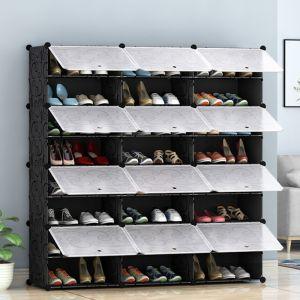 Shoe Rack Organizer Wardrobe with Cover   8 Tier   3 Column