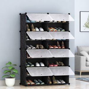 Shoe Rack Organizer with Cover | 8 Tier | 2 Column