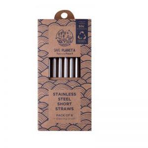 Short Stainless Steel Drinking Straws   6pk