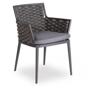 Siano Dining Chair | Charcoal with Dark Grey Cushion
