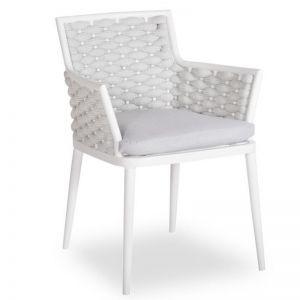 Siano Dining Chair | Matt White with Light Grey Cushion