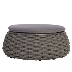 Siano Large Outdoor Storage Pouf | Matt Charcoal with Dark Grey Cushion