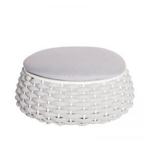 Siano Large Outdoor Storage Pouf | Matt White with Light Grey Cushion
