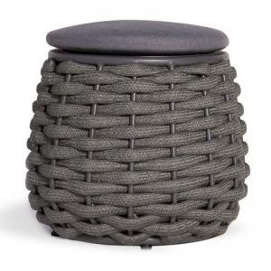 Siano Small Stool Outdoor Storage Pouf | Matt Charcoal with Dark Grey Cushion