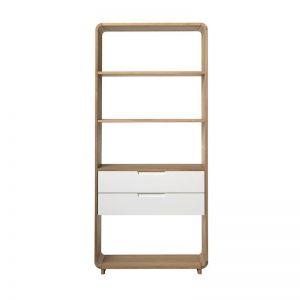 Sienna Display Unit Bookcase | 82cm |  Natural & White