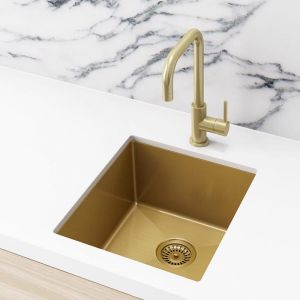 Single Bowl PVD Kitchen Sink | 440x380x200mm | Brushed Bronze Gold