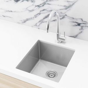 Single Bowl PVD Kitchen Sink | 440x380x200mm | Brushed Nickel