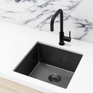 Single Bowl PVD Kitchen Sink | 450x450x200mm | Brushed Gold