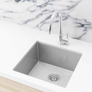Single Bowl PVD Kitchen Sink | 450x450x200mm | Brushed Nickel