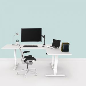 Sit-Stand Adjustable Corner Desk | Electric Triple Motor | Ergovida EED-233R
