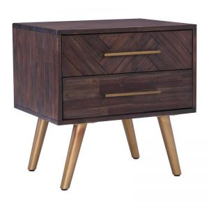 SIVAN Bedside Table | Acacia Solid Wood | Brown