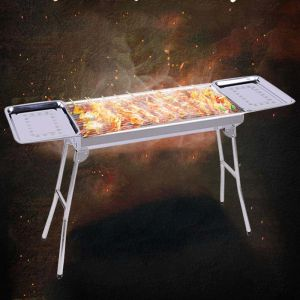 Skewers Grill with Side Tray Portable Stainless Steel Charcoal BBQ Outdoor 6-8 Persons