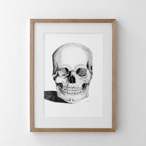 Skull with Gold Foil Leaf Tooth | Art Print | Dots by Donna