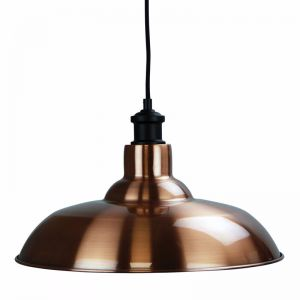 Slater Copper finish shade with Albany suspension in black
