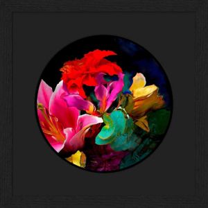 Small floral artwork, Bloom v7.1 by Rene Twigge, 34 x 34cm, framed with black frame