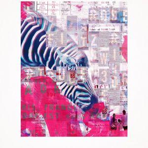 Small World (Pink Zebra) Print - Small