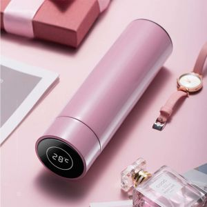 Smart LCD Thermometer Display Vacuum Flask Thermos | Stainless Steel  | 500ML | Pink