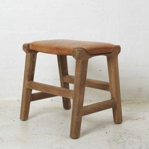 Sofija Leather Cushioned Footstool l Pre Order