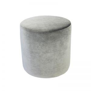 Soho Velvet Ottoman Small | Pebble Grey