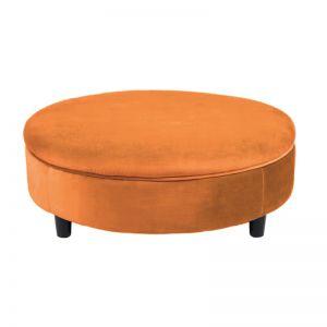 Soho Velvet Ottoman XL with Feet - Burnt Orange