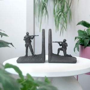 Soldier Bookend Set | Black | White Moose