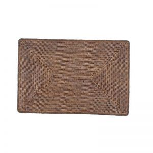 Solid Rattan Rectangular Placemats | Set of 6 | Antique Brown