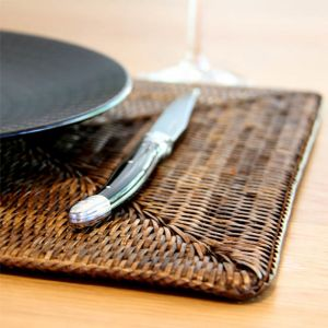 Solid Rattan Rectangular Placemats | Set of 6 | Antique Brown by SATARA