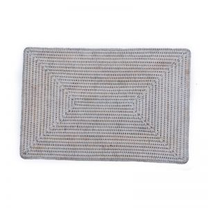 Solid Rattan Rectangular Placemats | Set of 6 | White Wash