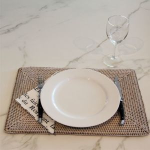 Solid Rattan Rectangular Placemats | Set of 6 | White Wash by SATARA